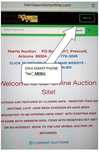 Online Bidding in Prescott, AZ, Step 1: Tap Menu