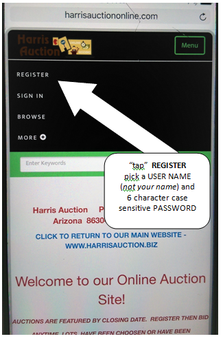 Online Bidding in Prescott, AZ, Step 2: Tap Register